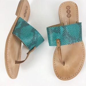 Yin Thong Style Turquoise Snakeskin Leather Sandal